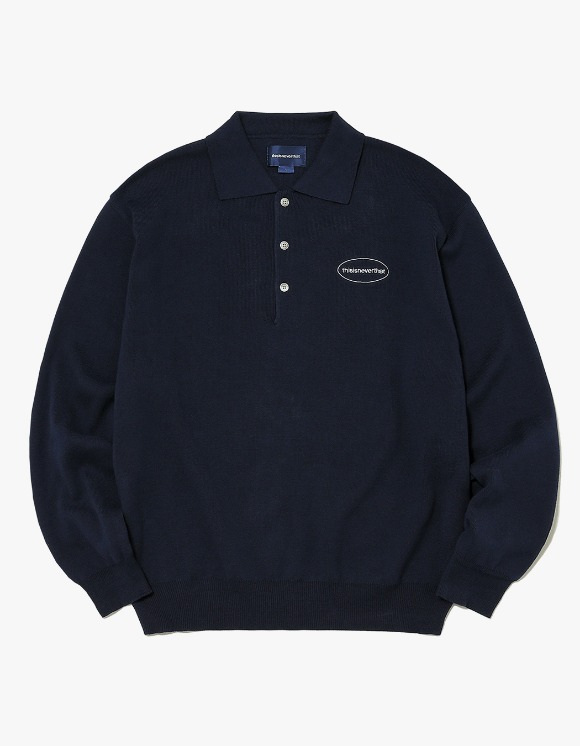 thisisneverthat E/T-Logo Knit Polo - Navy | HEIGHTS. | International Store