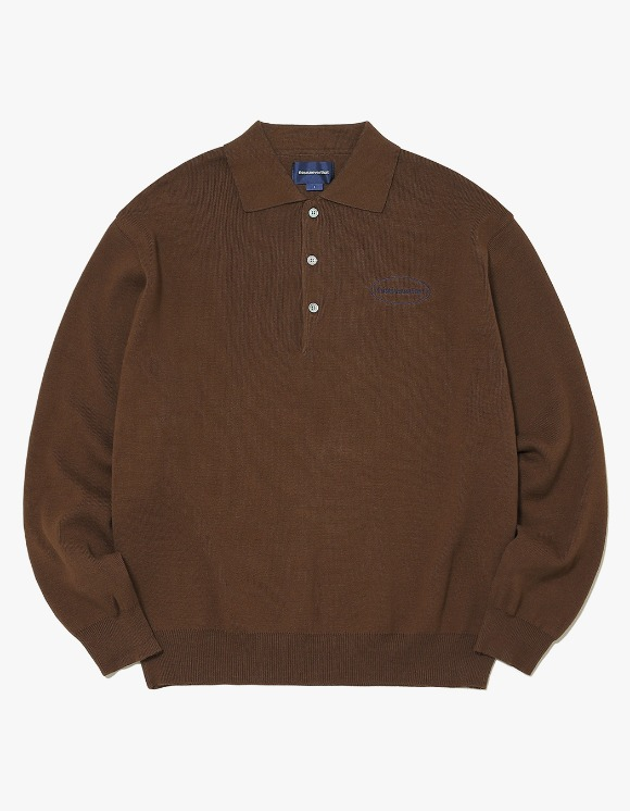 thisisneverthat E/T-Logo Knit Polo - Brown | HEIGHTS. | International Store